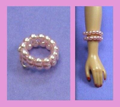 Dreamz CREAM WHITE PEARL SNAKE BRACELET for Barbie Doll Jewelry VINTAGE REPRO