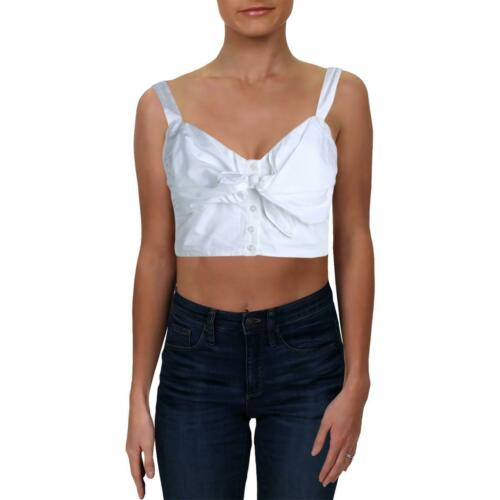 Womens Griffin Cotton Tie-Front Smocked Crop Top Shirt BHFO 7003 A.L.C