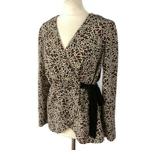 River-Island-Size-14-Long-Sleeve-Leopard-Print-Tie-Waist-V-Neck-Top-Party-Casual