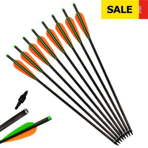 Carbon Crossbow Bolts Hunting Arrows 125 Grain Screw Point Moon Nocks 12 pcs