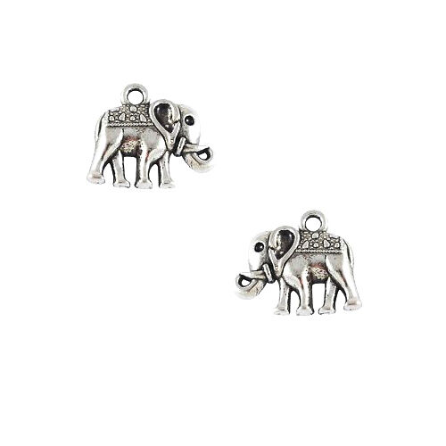 10 Antique Silver 12mm Double Sided Elephant Trunk Up Charms Plated Pewter Metal