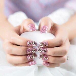Shimmer-Sequins-False-Nails-Press-On-Elegant-Manicure-Salon-Art-Finger-Decor-New