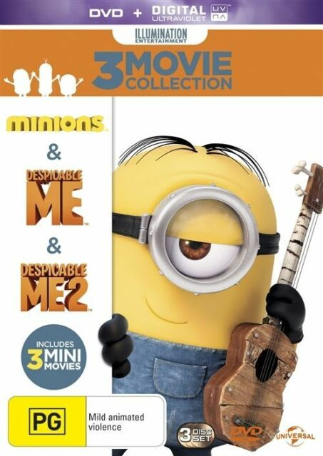 Despicable Me 1, 2 & Mimions DVD collection 3 movies R4 New Sealed