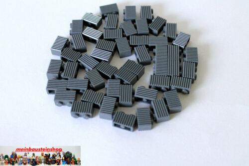 50X Lego® 2877 Basic Rillen- Riffelsteine 1X2 neues Dunkelgrau Gray NEU