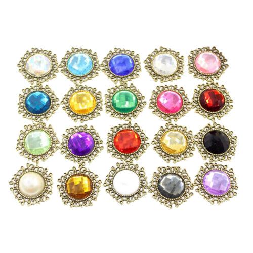 20x Mixed Rhinestone Buttons Flatback Cabochon DIY Embellishment Decor Craft
