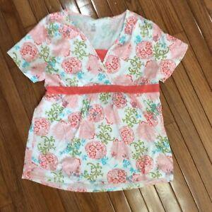 Women-039-s-Bobbie-Brooks-Floral-Short-Sleeve-Multi-Color-Shirt-Top-Size-L