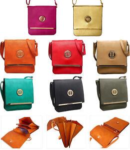 Ladies Faux Leather Medium Red Turnlock Messenger /& Cross Body Bag