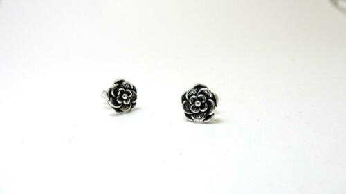 Tudor Rose style solid sterling silver Earring Studs 925 stamped jewellery gift