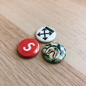 NEW-Supreme-Box-Logo-Off-White-BAPE-Shark-Camo-1-Inch-Pinback-Button-Pin-Set