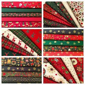 10-Fat-Quarters-Bundle-CHRISTMAS-100-Cotton-Fabric-Offcuts-Scraps-Remnants-Sew