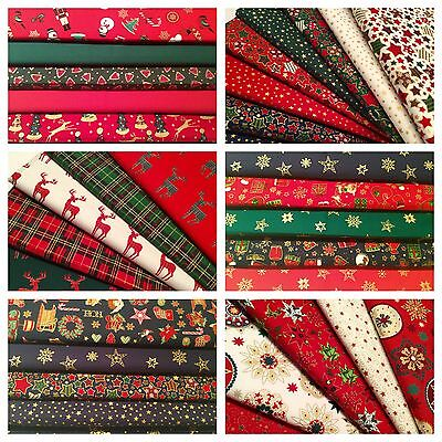10 Fat Quarters Bundle RED Polycotton Fabric STOCK CLEARANCE Offcuts Remnants