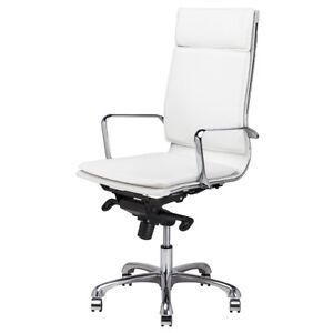 47 5 Tall Adjustable Office Chair Full Swivel Faux Leather Chrome Aluminium Ebay
