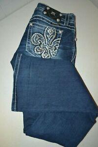 Miss Me Para Mujer Mediados De Subida Adornado Bootcut Azul Denim Jeans Talla 27x34 Ebay