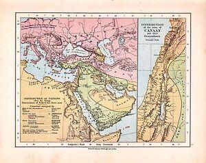 1878 Viktorianisch Landkarte ~ Distribution Von Nations Sons Canaan Nach Deluge