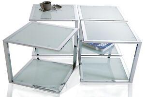 Tavolino da salotto ELEMENTO cromo/congelato vetro design tavolo ...