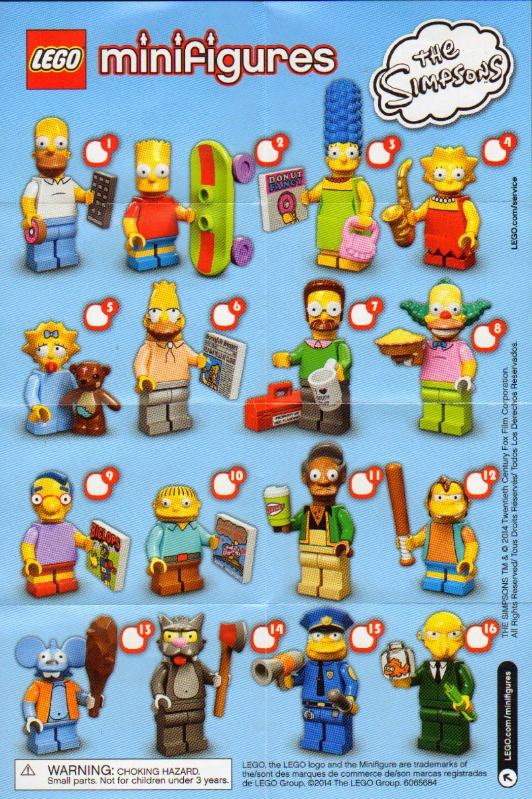 Alle all 16 LEGO Minifigures The Simpsons Serie 1 (71005)