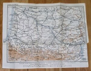 Map Of France Gascony.1914 Original Antique Map Of Southern France Pyrenees Gascony Bearn