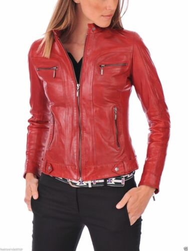 Biker Size Red Motorcycle Slim Xl Xxl Jacket M Hh8 S Leather L Lambskin Women CYtT4wq