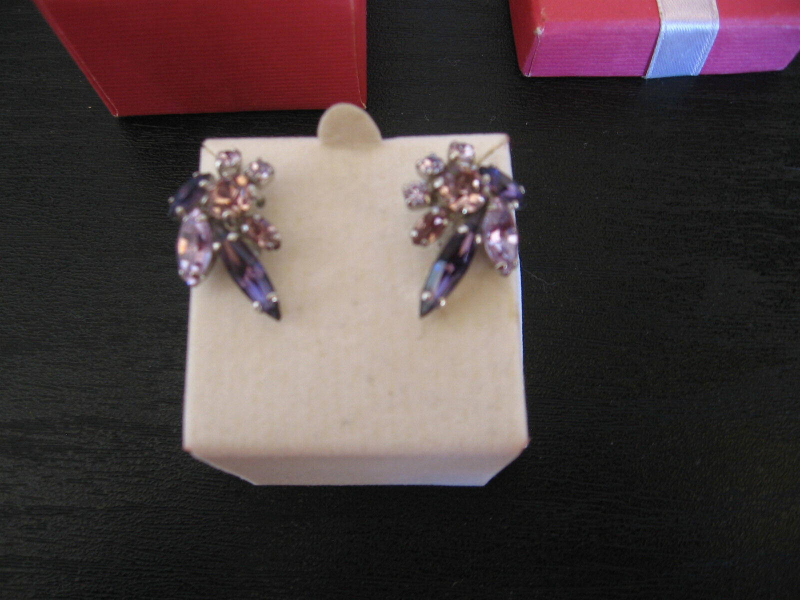 VTG Sherman Purple Mauve Crystal Clip on Earrings