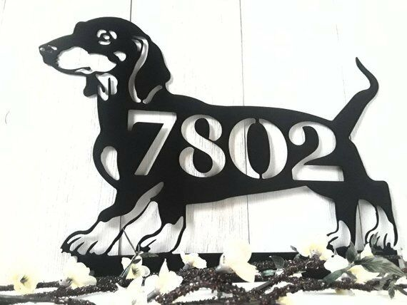 Dachshund Custom sign name pet statue metal art memorial steel Doxie yard art
