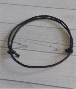 a177b2e8a11 2 x Mens Anklets Black Cord Surfer Plain Cotton Ankle Bracelet Set ...
