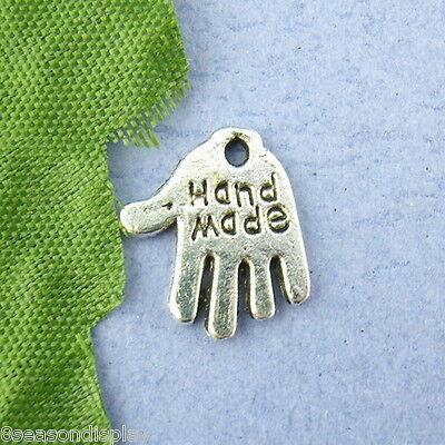 20Pcs Silver Tone DIY Hand Palm Charm Pendants 11x12mm