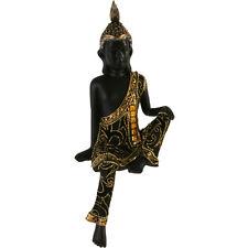 LARGE SHELF SITTING THAI BUDDHA 35cm ornament black gold sculpture figurine NEW