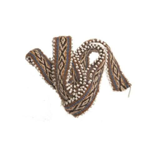 Peruvian Q/'ero Shamans Qero Inti Watana Fabric Mesa Tie 1m-1.2m Brown /& Blue