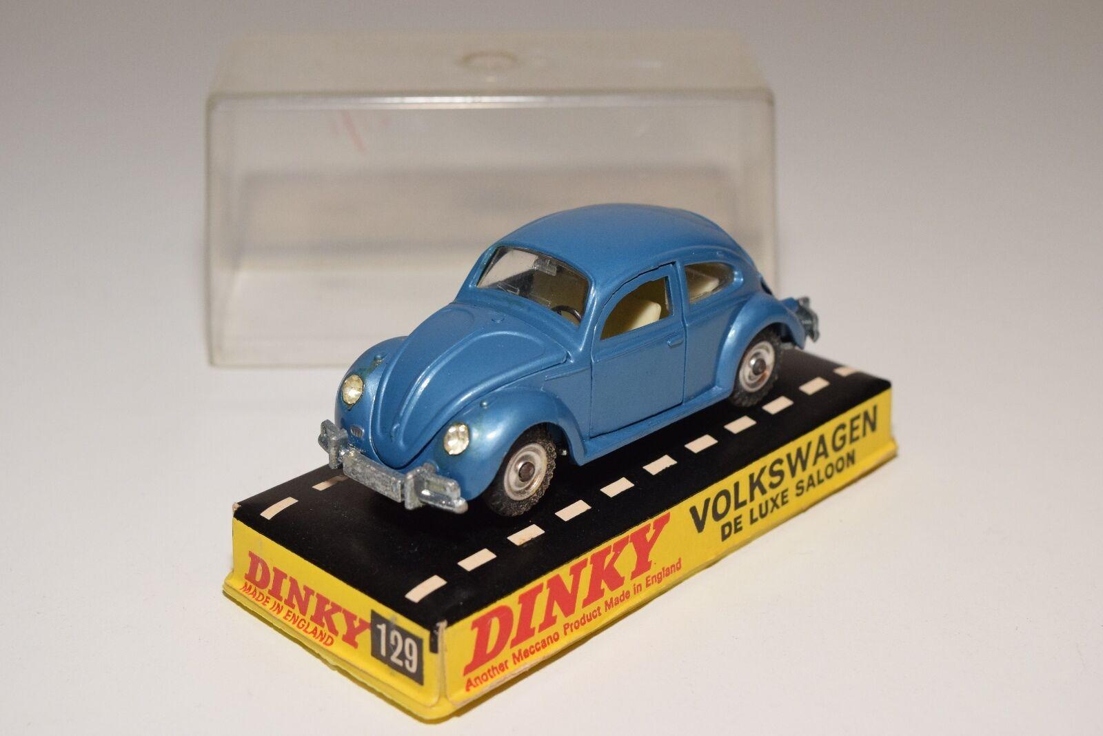 \\ DINKY TOYS 129 VW VOLKSWAGEN DE LUXE SALOON BEETLE KAFER bleu MINT BOXED
