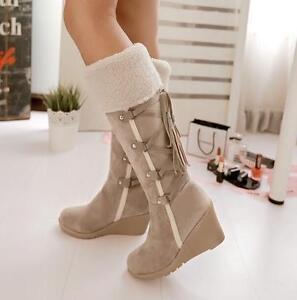 Women-039-s-Winter-Warm-Wedge-Hidden-Heel-Fur-Trim-Mid-Calf-Boots-Faux-Suede-Shoes