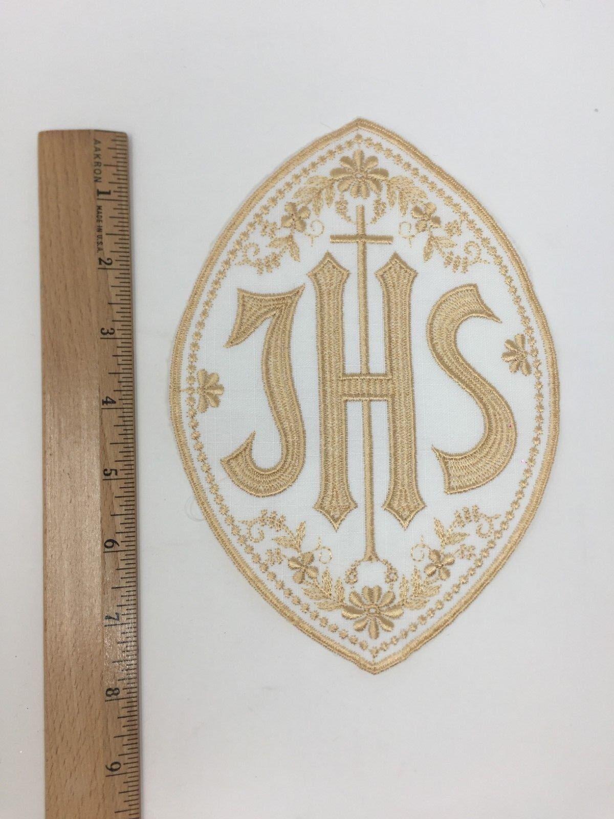 Ihs Lateinisches Kreuz Embleme Helles Gold auf Weiß Bestickt Geistlicher Geistlicher Geistlicher 395562