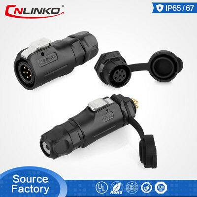 8Pin Inline Set CNLinko 8Pin Cable to Cable Signal Connector,M12 PBT Plastic Shell 3A 22AWG Waterproof IP67 Cable Connector