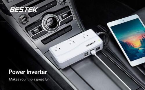 BESTEK 200W DC to AC Power Inverter 4 USB /& 3 Outlet Car Power Converter Adapter