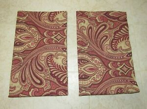 Details about Springs King Pillow Sham Lot Red Pink & Tan Paisley Print Set  of 2 USA
