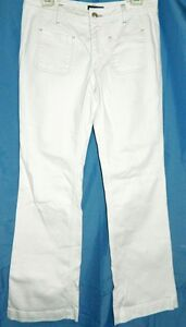 Tommy-Hilfiger-Jeans-Stretch-Boot-Cut-White-Front-Patch-Pockets-Pants-size-6R