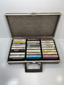 Lot-of-24-Vintage-Country-Music-Albums-Cassette-Tapes-w-Hard-Travel-Case