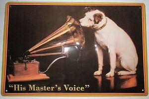 HIS-MASTERS-VOICE-Grammophon-BLECHSCHILD