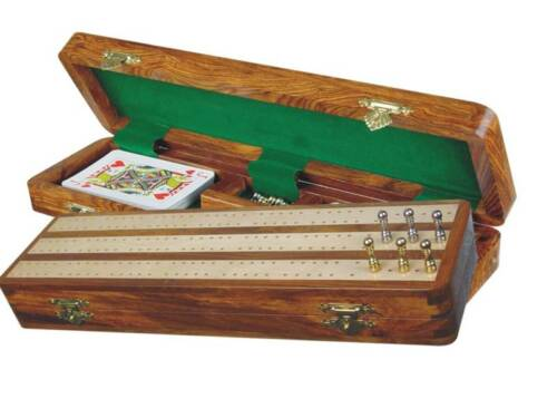 Regalia Cribbage Board  Box in Golden Rosewood / Maple 12 - 3 Tracks