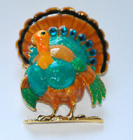 Thanksgiving Turkey Pin &/or Pendent / Blue Crystals / Gold-tone