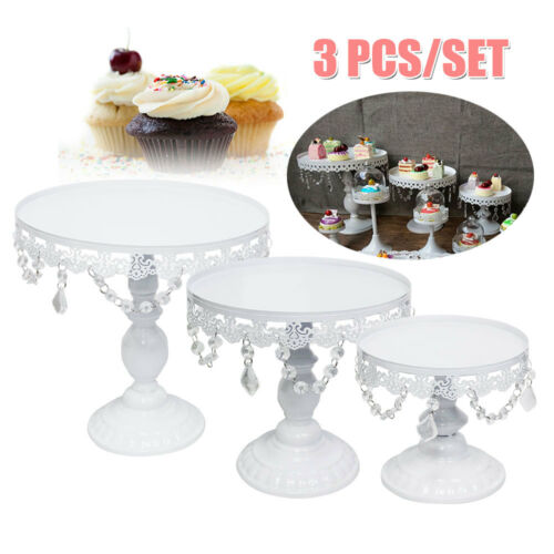 3//6//12Pcs Set Crystal White Metal Cake Holder Cupcake Stand Wedding Party Plates