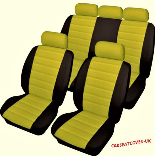 Luxury YELLOW//BLACK Leather Look Car Seat Covers Full Set Rover Mini