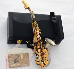 customized professional curved soprano bb saxophone matt black silver nickel sax ebay. Black Bedroom Furniture Sets. Home Design Ideas