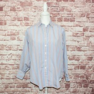 TURNBULL-amp-ASSER-Women-039-s-Button-up-Shirt-Striped-Cotton-Sz-Small