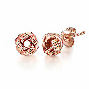 Image Is Loading Rose Gold Love Knot Earrings