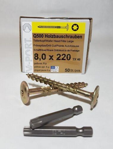 2x50mm Bits Holzbauschrauben Tellerkopfschraube 8mm EU-Zulassung TX40 inkl