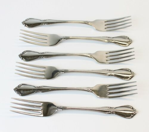 6 Oneida Oneidacraft Deluxe Stainless Chateau Dinner Forks Set//Lot Flatware