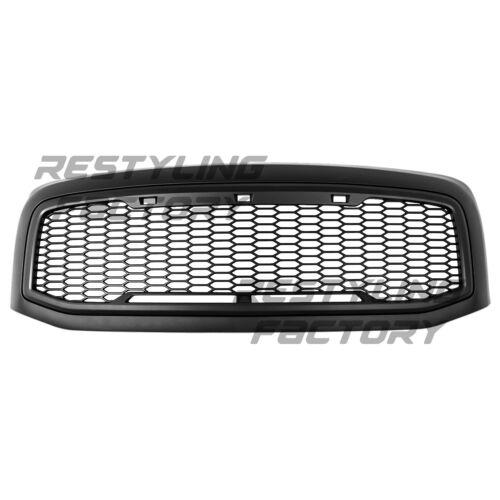 06-09 Dodge RAM Raptor Style Matte Black Front Hood Mesh Grille+Shell+Amber LED