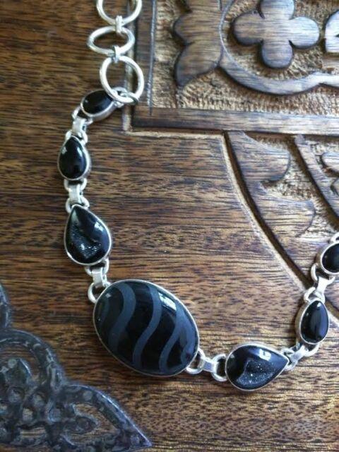 Stunning Etched Obsidian Bracelet 925 Sterling Silver Black Druzy Onyx Large