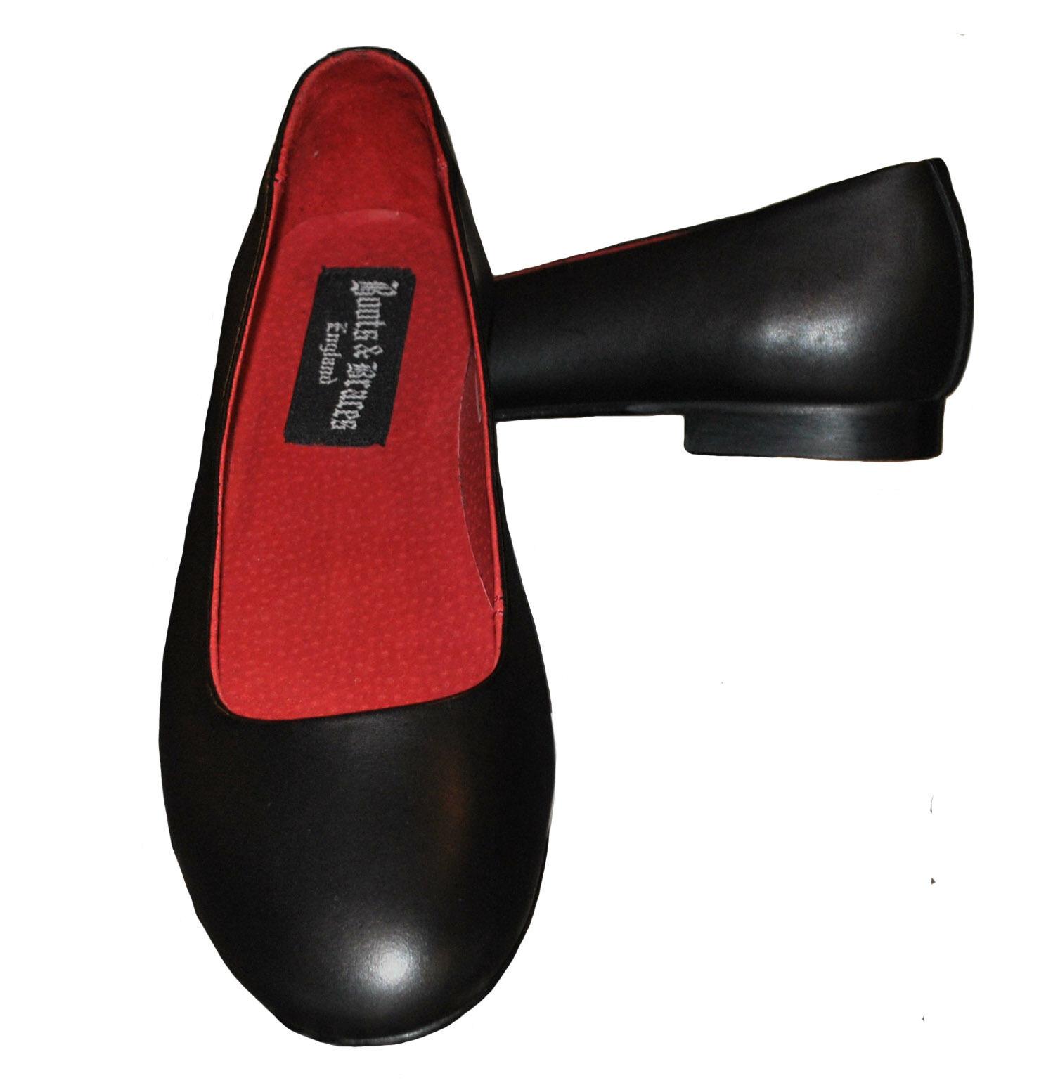 50s style Escarpins véritable cuir rockabella Ballerines Chaussures Noir taille 36 - 42
