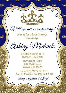 Prince royal king blue gold baby shower invitation ebay image is loading prince royal king blue gold baby shower invitation filmwisefo
